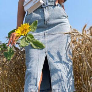 Приобрести голубую женскую джинсовую юбку миди +пояс недорого
