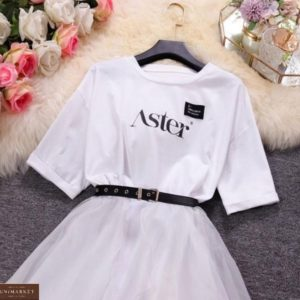 Купить онлайн белый комплект: платье-футболка и юбка для женщин