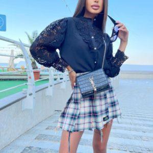 Купить женскую черную блузку с кружевом с длинным рукавом в Украине
