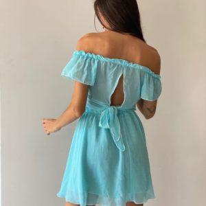 Приобрести голубой женский шифоновый костюм: топ+юбка онлайн