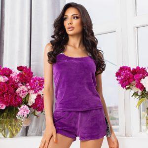 Заказать фиолетовый женский велюровый костюм с шортами и майкой (размер 42-52) дешево
