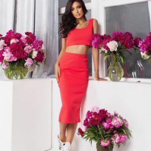 Замовити кораловий жіночий костюм: топ + спідниця міді (розмір 42-52) в Україні