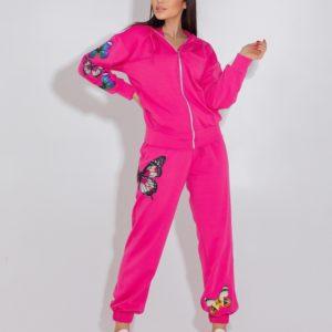 Заказать онлайн малиновый розовый спортивный костюм с бабочками (размер 42-52) для женщин