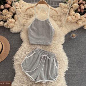 Заказать недорого серый спортивный костюм с шортами и топом женский