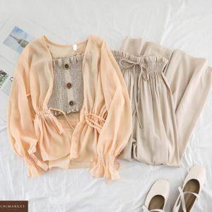 Заказать выгодно бежевый костюм тройка: брюки, топ и накидка для женщин