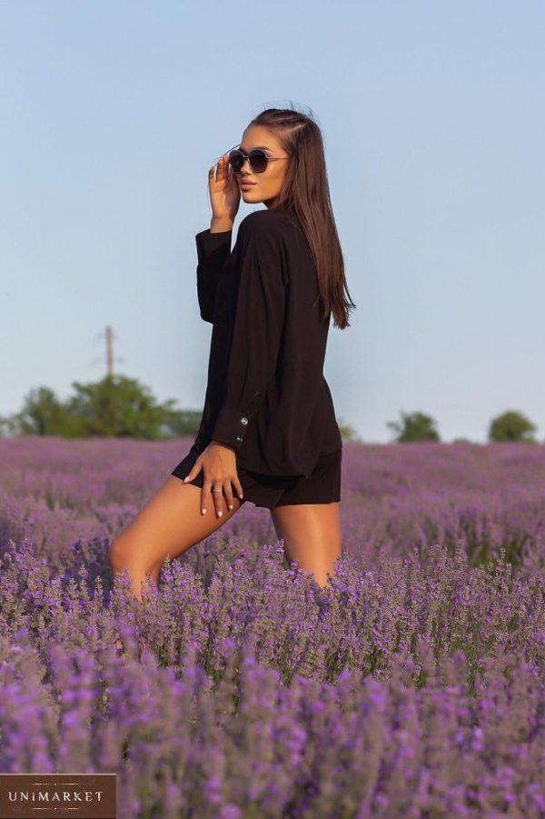 Заказать черный женский костюм с шортами из штапеля (размер 42-52) онлакостюм с шортами из штапеля (размер 42-52) онлайн