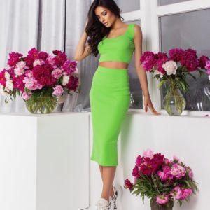 Замовити онлайн зелений костюм: топ + спідниця міді (розмір 42-52) для жінок