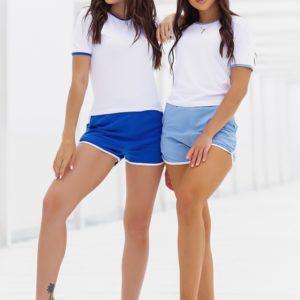 Придбати синій, блакитний костюм з шортами і білою футболкою (розмір 42-52) для жінок онлайн