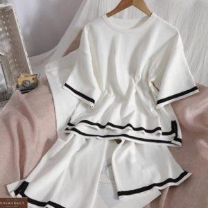 Купить по скидке белый костюм из вискозы с кюлотами женский