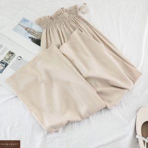 Приобрести онлайн бежевый костюм тройка: брюки, топ и накидка для женщин
