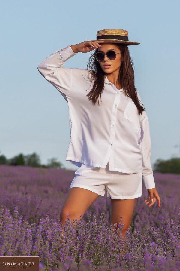 Приобрести белого цвета костюм с шортами из штапеля для женщин (размер 42-52) в Украине