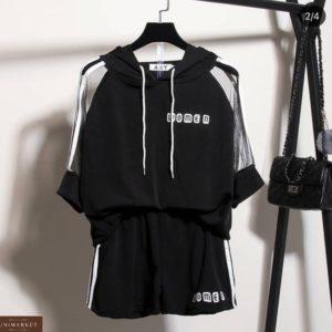 Приобрести черный женский костюм: футболка с прозрачными рукавами + шорты по низким ценам