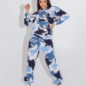 Приобрести голубой женский спортивный костюм с разводами (размер 42-52) по низким ценам