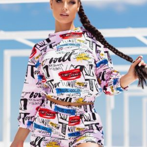 Замовити вигідно пудра спортивний костюм з принтом (розмір 42-52) для жінок