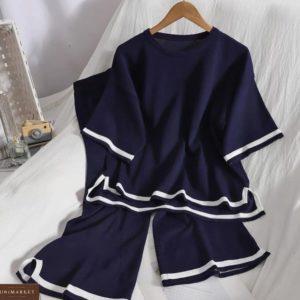 Купить дешево синий костюм из вискозы с кюлотами для женщин