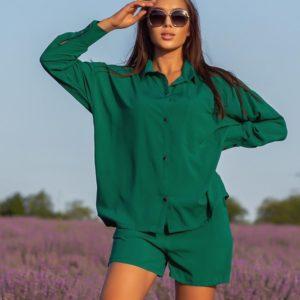 Приобрести по низким ценам зеленый костюм с шортами из штапеля (размер 42-52) для женщин