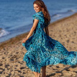 Приобрести недорого голубую женскую пляжную накидку с тигровым принтом