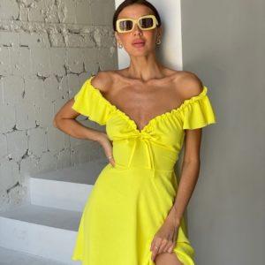 Приобрести желтое женское Платье из жатки со шнуровкой дешево