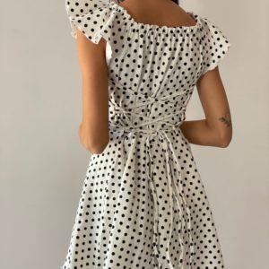 Купити онлайн біле літнє плаття міні в горошок для жінок