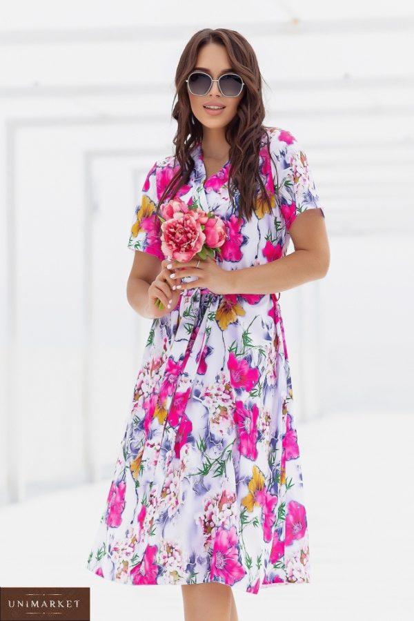 Купить женское розовое шелковое платье в цветочный принт (размер 48-52) в Украине