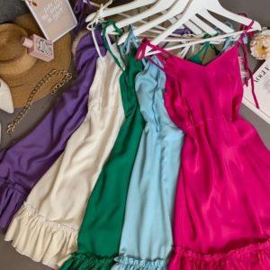 Купить беж, фиолет, малина платье из штапеля на бретельках для женщин в Украине