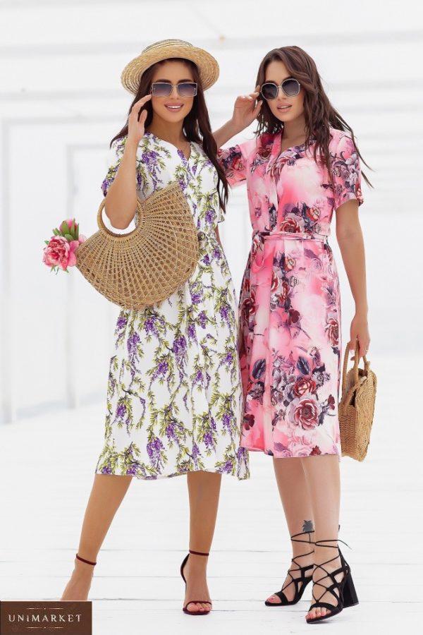 Купить выгодно лаванда, розовое шелковое платье в цветочный принт (размер 48-52) для женщиншелковое платье в цветочный принт (размер 48-52)