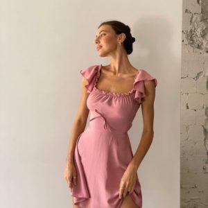Купить онлайн пудровое женское Платье из жатки со шнуровкой
