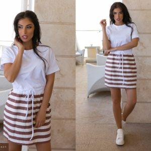 Купить капучино женское платье с полосатой юбкой (размер 44-54) в интернете