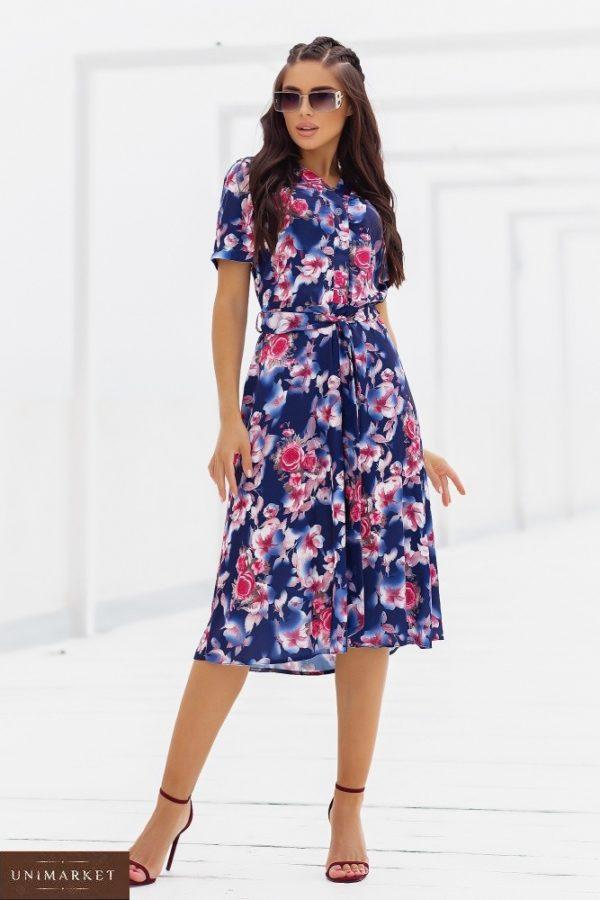 Приобрести по скидке синее шелковое платье в цветочный принт (размер 48-52) для женщин