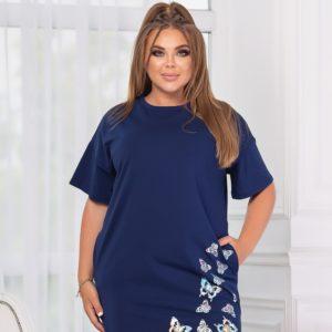 Купить онлайн синее платье-футболка с аппликацией (размер 46-56) для женщин