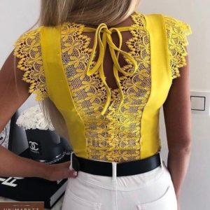 Купить выгодно желтую футболку с кружевом для женщин