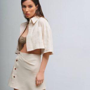 купить летнее платье из льня бежевого цвета с доставкой в считанные дни