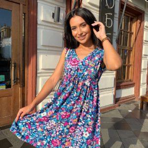 купить летнее платье без рукавов с ярким цветочным принтом недорого
