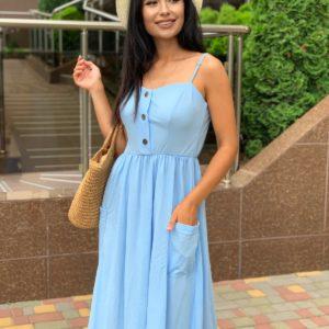летний женский сарафан голубого цвета на бретелях по лучшей цене в интернете