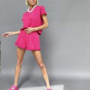 купить женский летний костюм с шортами и футболкой с коротким рукавом в розовом цвете недорого