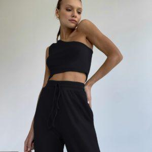купить женский костюм с штанами и топом черного цвета по лучшей цене в онлайне