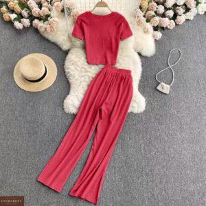 купить женский костюм штаны + укороченная кофта малинового цвета по лучшей цене в магазинах Украины