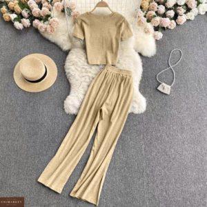 бежевый летний женский костюм кофта с коротким рукавом + штаны из трикотажа