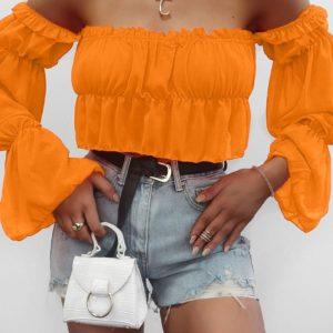 оранжевый топ для девушек с открытыми плечами по лучшей цене в магазинах женской одежды
