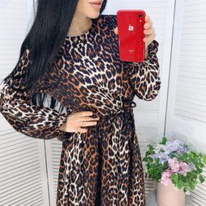 заказать женское леопардовое платье с длинным рукавом недорого