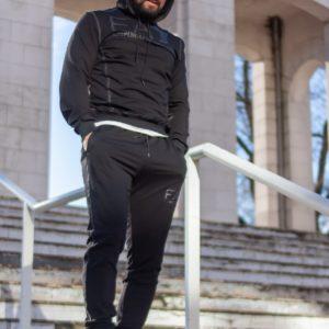 купити чоловічий спортивний костюм штани + кофта з капюшоном чорного кольору за ціною зі складу