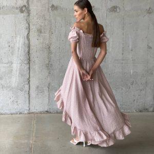 заказать вечернее ассиметричное платье цвета мокко с спущенными плечами недорого