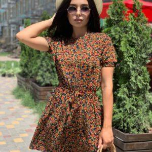 терракотовое платье с принтом для лета по выгодной стоимости в интернет магазине Unimarket