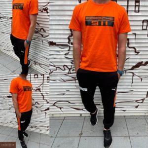 купити чоловічий спортивний костюм з штанами і помаранчевої футболкою з принтом недорого