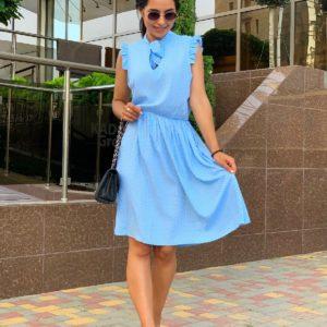 купить платье нежно голубого цвета из штапеля по выгодной стоимости в магазине одежды Юнимаркет