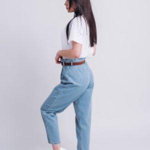 заказать джинсы бананы женские голубого цвета недорого в онлайн магазине