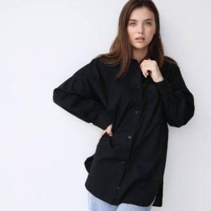 приобрести чёрную длинную рубашку для женщин по лучшей цене в Украинских магазинах одежды