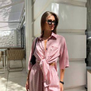 купить женский летний костюм в клетку розового цвета по низкой цене