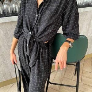 купить льняной женский костюм с штанами в клетку черного цвета онлайн