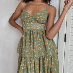 купить летний женский сарафан шифоновый зеленого цвета с принтом цветы по акционной цене от поставщика